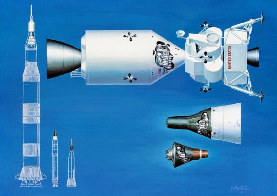 Relative Sizes of Mercury Gemini Apollo Spacecraft & Rockets. Space Print/Poster (5201)